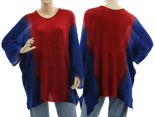 Lagenlook wide shaped sweater wool in cobalt blue red L-XL/XXL