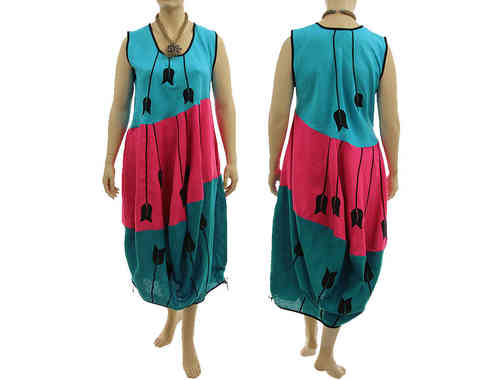 Boho balloon dress linen with tulips turquoise pink teal XL-XXL