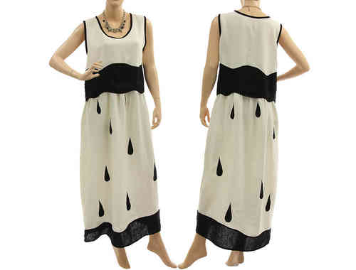 Artsy boho maxi dress with higher waistline linen in white black S-M