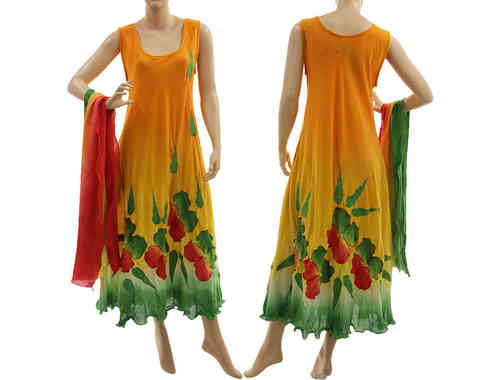 Artsy boho flower dress with scarf, crinkle cotton in orange green red M-L
