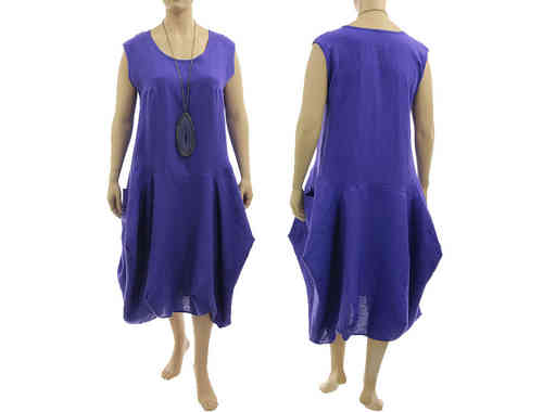 Lagenlook boho bulgy balloon dress linen in purple XXL-XXXL