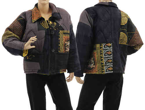 Boho artsy silk coat jacket, patchwork black purple gold M-L