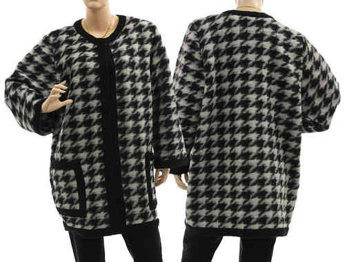 Flattering long jacket, boiled wool in black white L-XL