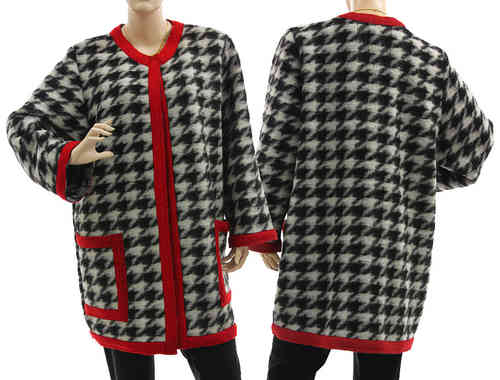 Flattering long jacket, boiled wool in black white red L-XL