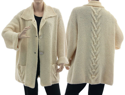 Oversized hand knitted cabled cardi Elisa in ecru off white L-XL