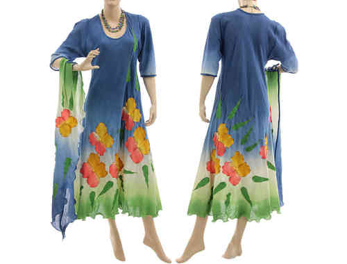 Flower dress with scarf, crinkle cotton blue yellow red green S-M