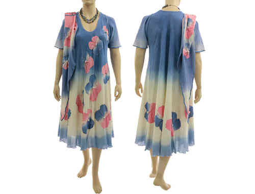 Boho flower dress with scarf, crinkle cotton in blue pink L-XL