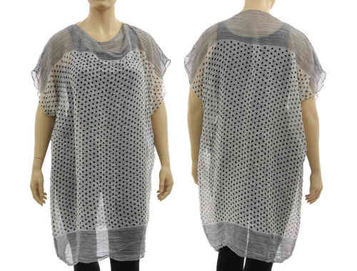 Airy lagenlook tunic top with dots, cotton white black L-XXL