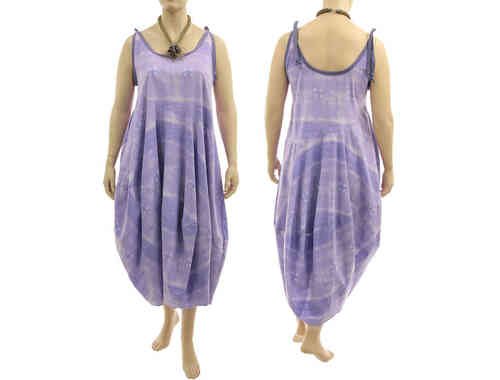 Lagenlook tie strap balloon dress cotton in purple lilac L-XL