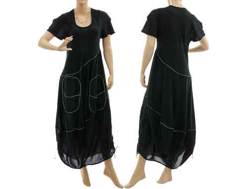 Lagenlook boho balloon dress with large pockets cotton in black M-L