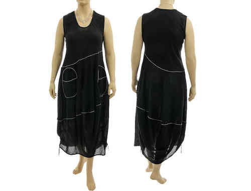 Lagenlook boho balloon dress with large pockets cotton black M-L