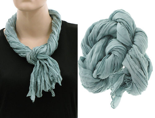 Lagenlook narrow scarf silk crushed hand dyed in pale teal