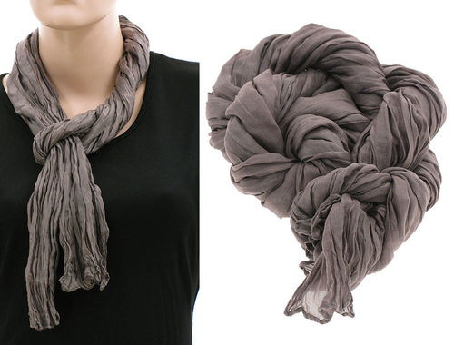 Lagenlook narrow scarf silk crushed hand dyed in mauve-taupe