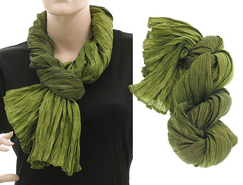 Lagenlook scarf silk gold threads crushed hand dyed in green
