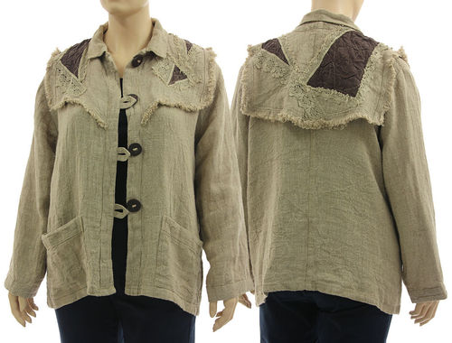 Lagenlook boho jacket with decorative yoke, linen in natural L-XL