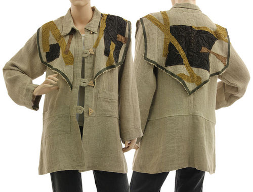 Lagenlook boho jacket with decorative yoke, linen in natural S-M