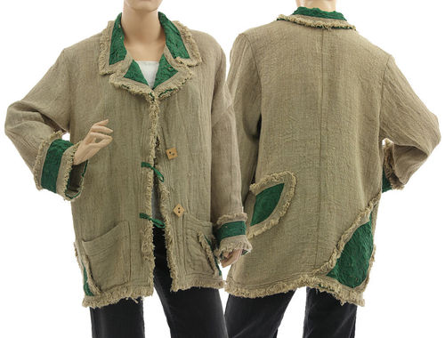 Lagenlook boho jacket with lapel collar, linen in natural green M-L