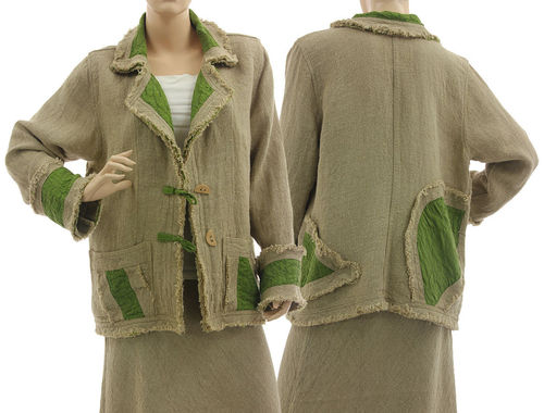 Lagenlook boho jacket with lapel collar, linen in natural applegreen M-L
