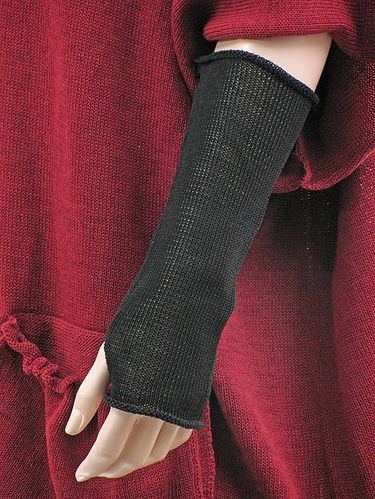 Lagenlook knitted arm wrist warmers with thumb hole, black size 2
