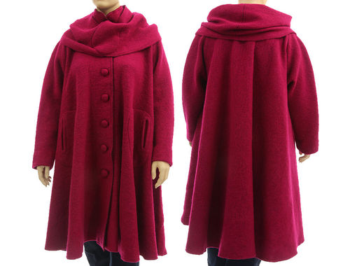 Boho artsy flared coat with separate hood, boiled wool in magenta L-XXL