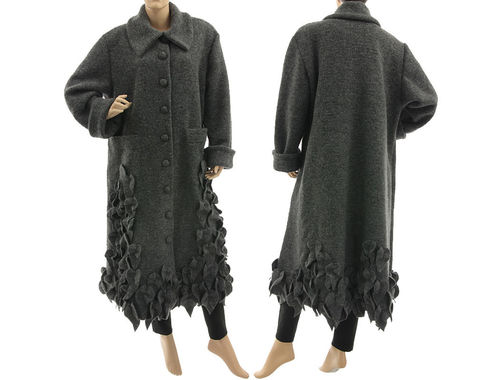 Lagenlook artsy long coat with leaves, boiled wool grey L-XXL
