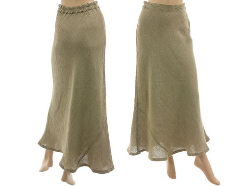 Lagenlook flared maxi skirt, linen in nature M