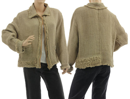 Lagenlook boho jacket with zipper, linen in natural M-L