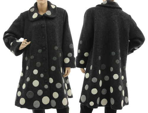 Artsy flared coat with polka dots, boiled wool dark grey M-L