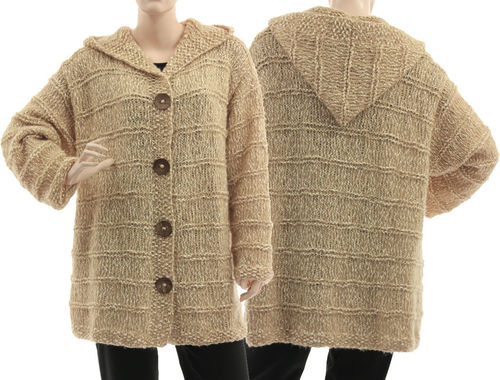 Hand knitted hooded sweater cardi Doris, cotton wool in beige ecru L-XL