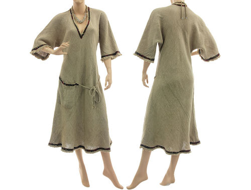 Lagenlook frayed linen dress with pocket and silk ribbon, in nature L-XL