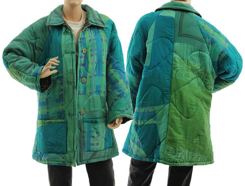 Boho artsy silk coat jacket, patchwork teal green blue M-L