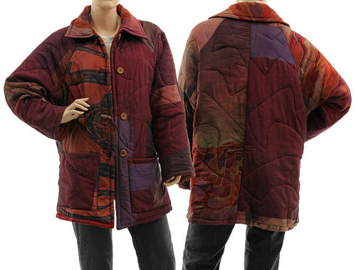 Boho artsy silk coat jacket, patchwork burgundy purple M-L