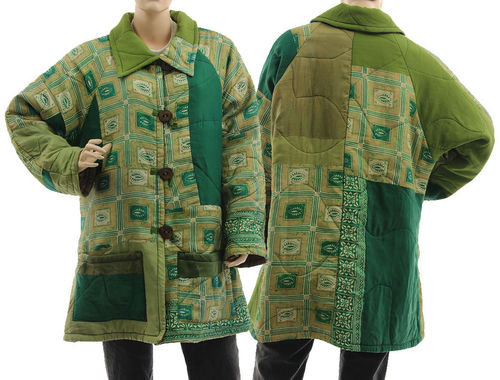 Boho artsy silk coat jacket, patchwork green olive beige M-L