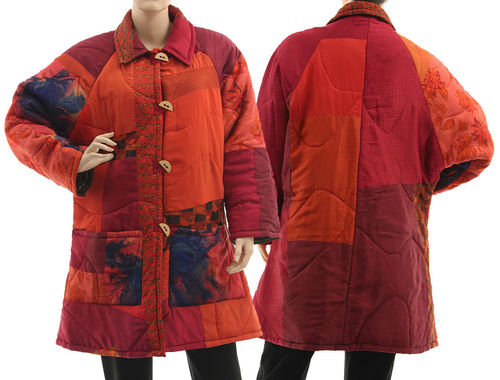 Boho artsy silk coat jacket, patchwork red burgundy L-XL