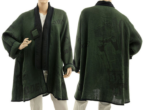 Boho long flared jacket with print, linen in green black M-L