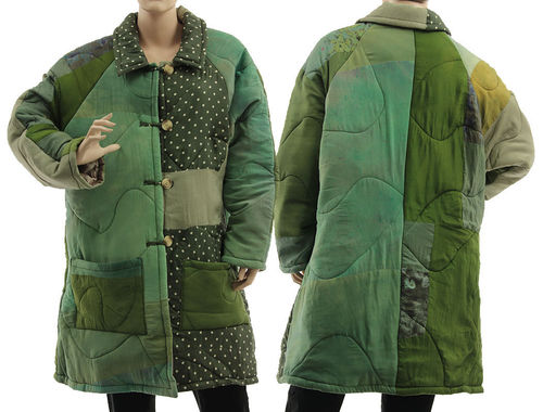 Boho artsy silk coat jacket, patchwork green shades L-XL