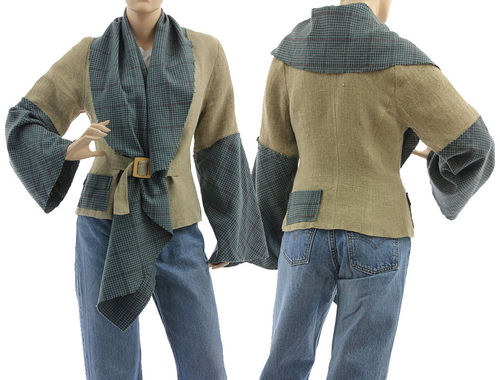 Jacket with large collar, linen with wool, natural and blue teal S