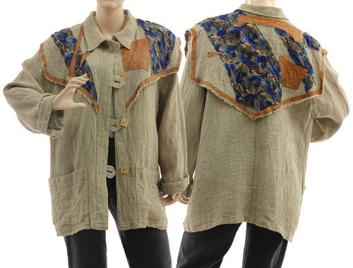 Lagenlook boho jacket with decorative yoke, linen in natural L