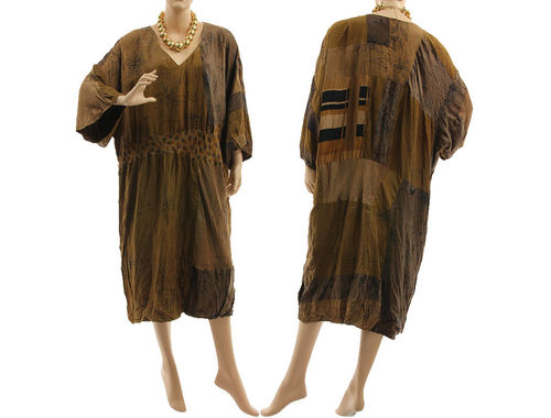 Lagenlook boho patchwork dress, crushed silk in brown shades L-XXL
