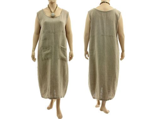 Lagenlook maxi linen tank dress with 3 pockets, in nature L-XL