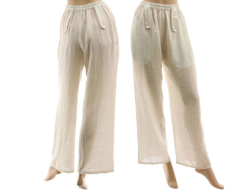 Lagenlook long wide legs pants, linen-cotton in white S-M