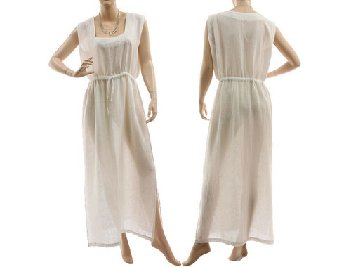 Boho maxi summer / beach dress, linen cotton in white M-L