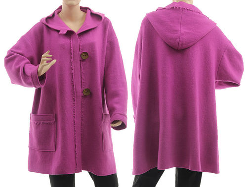 Lagenlook hooded jacket, exclusive boiled wool in purple-pink L-XL