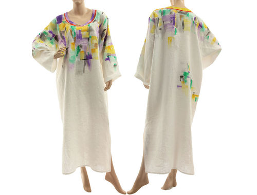 Boho lagenlook long linen dress caftan handpainted, in white L-XXL