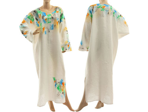 Boho lagenlook maxi linen dress caftan handpainted, in white L-XXL