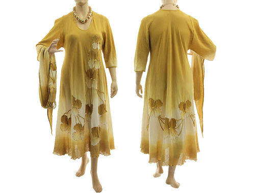 Boho flower dress with scarf, crinkle cotton in honey yellow L-XL