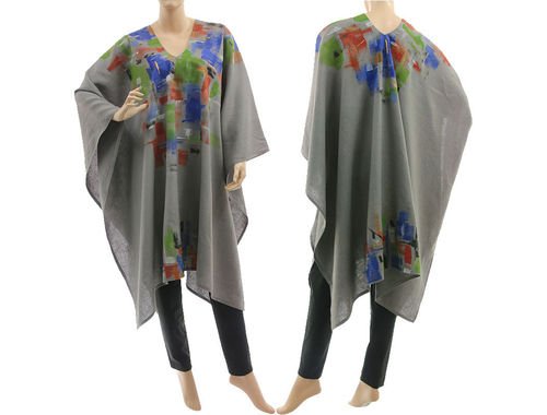 Boho artsy handpainted linen poncho cape cover in grey S-XXL