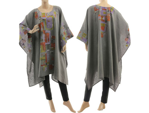 Artsy boho handpainted linen poncho cape cover in grey S-XXL