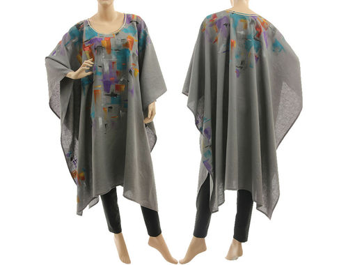 Artsy boho handpainted linen poncho cover cape in grey S-XXL