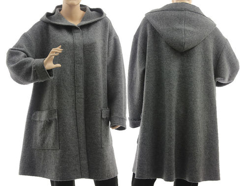 Lagenlook hooded coat, exclusive boiled wool in grey M-L